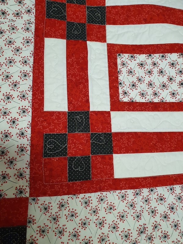 patchwork throw red white