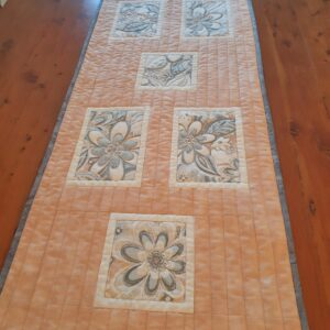 Caramel Sand patchwork table runner with green grey flowers
