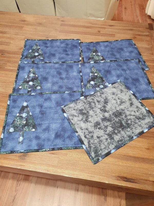 Blue Christmas Placemat with christmas tree