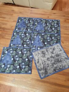 Christmas Placemat in green and blue with blue christmas tree