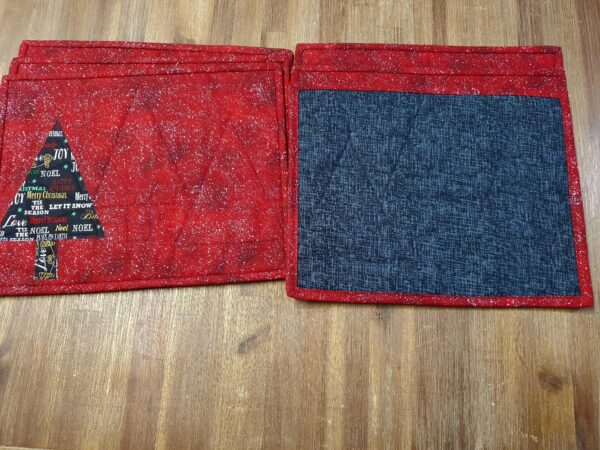 Red Christmas Placemats with Black Tree