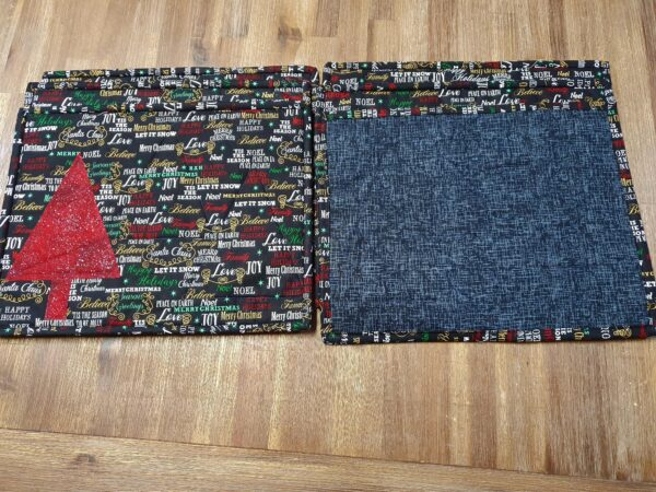 Black Christmas Placemats with Red Tree