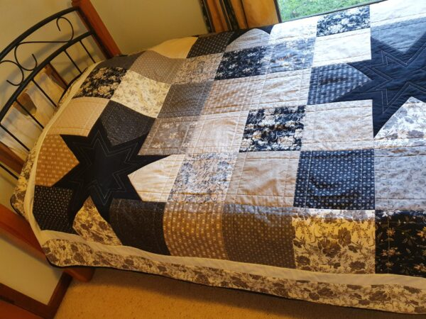 Wonky star king single quilt